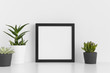 Black square frame mockup with a various types of succulent plants on a white table.