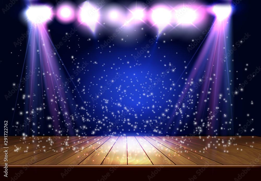 Fototapeta Background in Show. Transparent Spotlight. Scene Illumination. Vector illustration