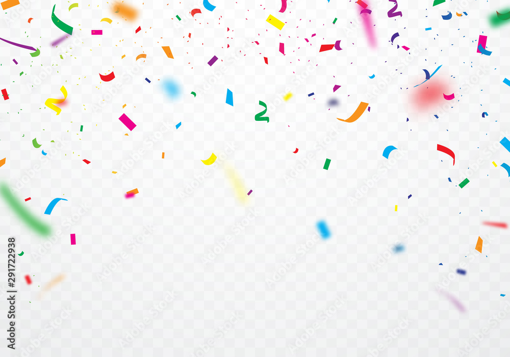 Fototapeta  Colorful ribbons and confetti Can be separated from a transparent background