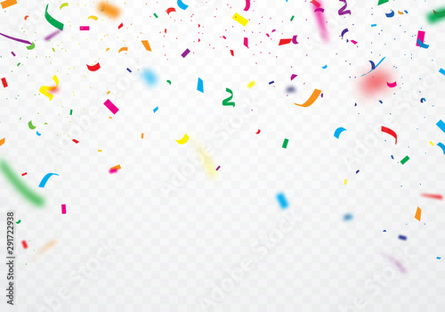 Fotomural  Colorful ribbons and confetti Can be separated from a transparent background