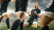Leinwanddruck Bild - Taste or win. Young female soccer or football player in sportwear celebrating the goal in action at the stadium while gameplay. Concept of healthy lifestyle, professional sport, hobby, motion