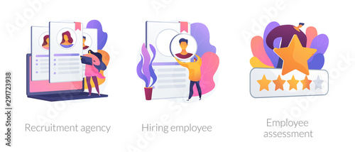 Employer actions icons set. Employment service, resume search, staff selection. Recruitment agency, hiring employee, employee assessment metaphors. Website web page template - concept metaphors.