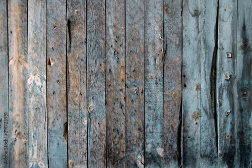 Old blue wooden planks wall Fototapet