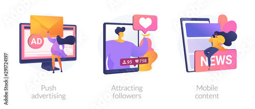 Social media blogger earnings icons set Wallpaper Mural