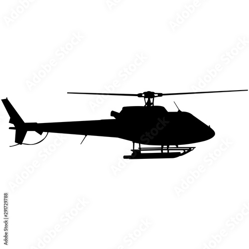 Helicopter Silhouette Vector Wallpaper Mural