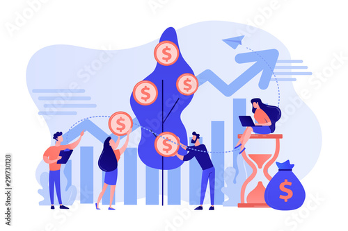 Fototapeta Money investing, financiers analyzing stock market profit
