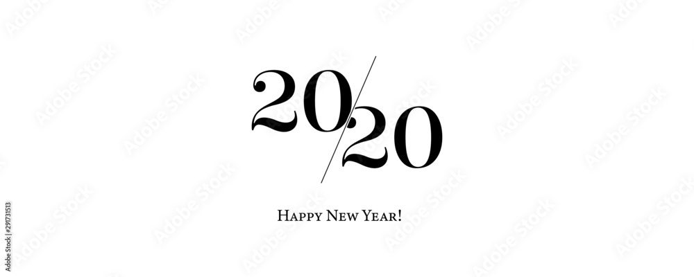 Fototapeta 2020 Logo Happy New Year Background. Brochure Design Template, Poster, Card, Banner. Vector Illustration.