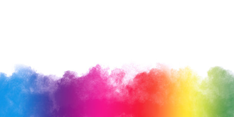 Freeze motion of colorful color powder exploding on white background.  Paint Holi.