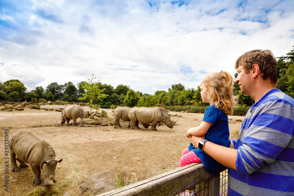 Fototapeta Cute adorable toddler girl and father watching rhinos in zoo. Happy baby child, daughter and dad, family having fun together with animals safari park on warm summer day.