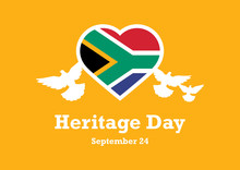 Heritage Day Vector. The Flag Of South Africa. Flag Of South Africa In Heart Shape. South Africa Flag Heart. Heritage Day Poster, September 24. Important Day