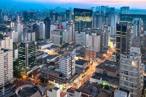 Cityscape of Sao Paulo at dusk, Brazil, South America