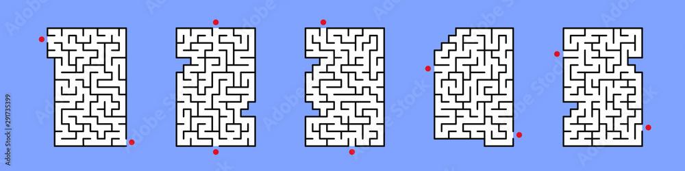 Fototapeta Set of Number 1, 2, 3, 4, 5 maze labyrinth, Vector illustrator