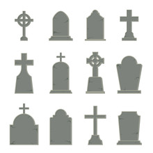 Set Of Tombstone Shape On White Background, Vector Illustration