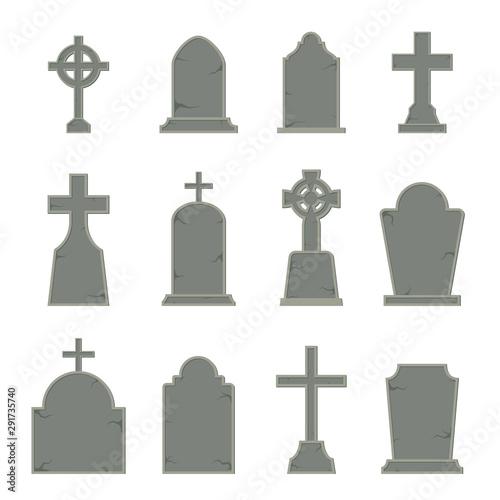 Valokuva Set of tombstone shape on white background, vector illustration