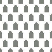 Seamless Pattern With Tombstone On White Background, Vector Illustration
