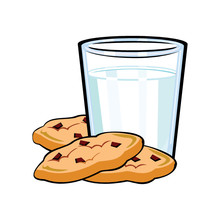 A Glass Of Milk And Cookies Fo...
