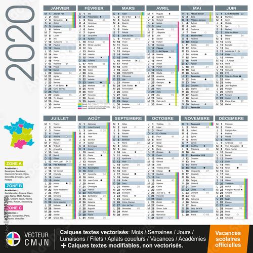 Canvastavla Calendrier français 2020 avec vacances scolaires officielles
