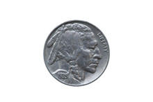 USA Five Cents Buffalo Indian Head Nickel Coin Dated 1935 Front  (obverse) Cut Out And Isolated On A White Background