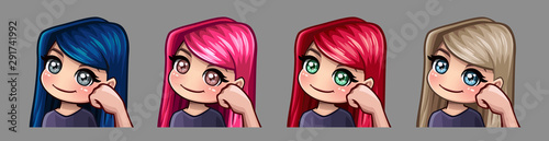 Photo  Emotion icons smiling sarcastic girl for social networks and stickers