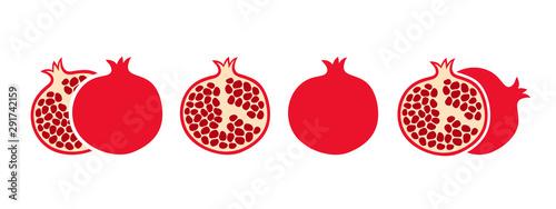 Obraz na plátně Pomegranate set. Logo. Isolated pomegranate on white background