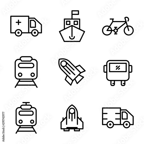 Transportation icon set include ambulance, transportation, car, transport, ship, Wallpaper Mural