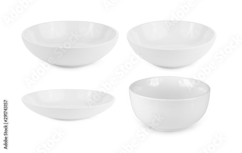 set of empty white bowl isolated on white background Wallpaper Mural