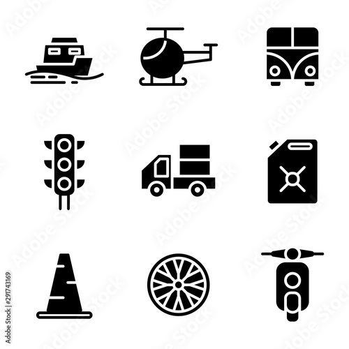 Transportation icon set include sea, transport, vehicle, ship, helicopter, fligh Wallpaper Mural