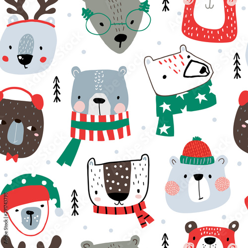 Seamless childish pattern with cute holiday bear in hat, scarf Canvas Print