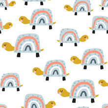 Seamless Pattern With Cute Rainbow Turtles. Creative Texture In Scandinavian Style. Great For Fabric, Textile Vector Illustration
