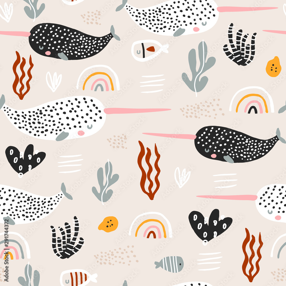Fototapeta Seamless pattern with abstract narwals, rainbows, seaweeds. Undersea Childish texture for fabric, textile. Vector background