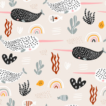 Seamless Pattern With Abstract Narwals, Rainbows, Seaweeds. Undersea Childish Texture For Fabric, Textile. Vector Background