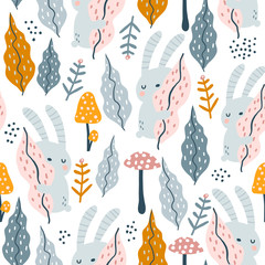 Seamless jungle pattern with bunny, mushrooms and floral elements. Creative autumn texture for fabric, wrapping, textile, wallpaper, apparel. Vector illustration