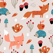 Seamless Autumn Pattern With F...