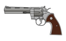 Revolver Pistol On White Backg...