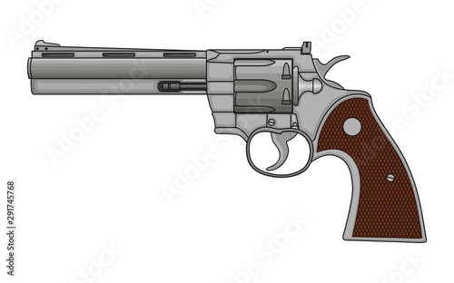 Obraz na plátně Revolver Pistol on white background