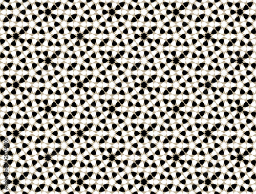 Monochrome Moroccan motif tile pattern. Luxury decorative geometric design.