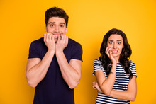 Portrait Of His He Her She Nice Attractive Lovely Funny Horrified People Married Spouses Showing Fear Expression Scary Movie Film Cinema Isolated Over Bright Vivid Shine Yellow Background