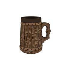 Vintage Wooden Beer Mug. Medie...