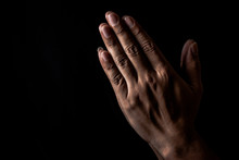 Praying Hand For God, Hand For Pray To Hope In The Black Background, Hand Symbol For Believe To Jesus And God