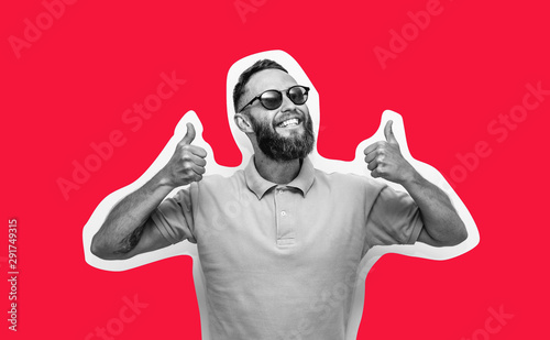 Obraz Crazy hipster guy emotions. Collage in magazine style with happy emotions. Discount, sale, season sales. - fototapety do salonu