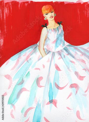 beautiful woman. fashion illustration. contemporary watercolor painting