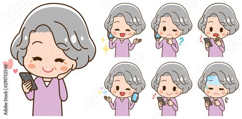 Carta da parati Set of illustrations senior women have smartphones