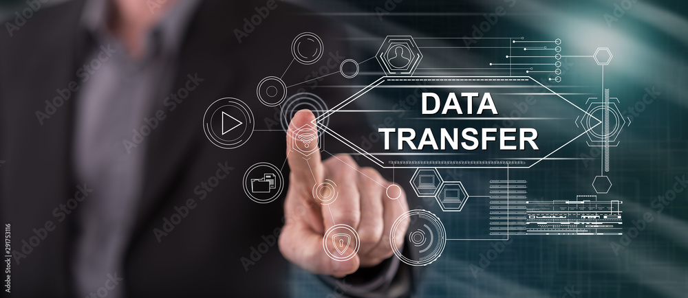 Fototapeta Man touching a data transfer concept