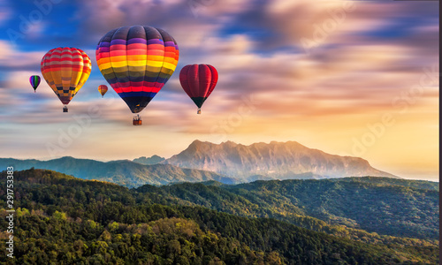 Tuinposter Ballon Colorful hot air balloons flying over Doi Luang Chiang Dao, Chiang Mai in Thailand