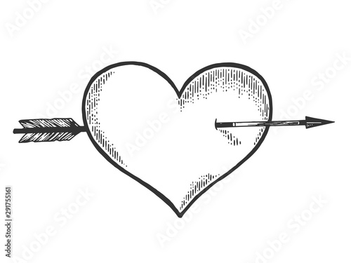 Heart symbol pierced with arrow sketch engraving vector illustration Fototapeta