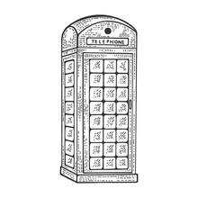 Red Telephone Box Sketch Engraving Vector Illustration. Scratch Board Style Imitation. Black And White Hand Drawn Image.