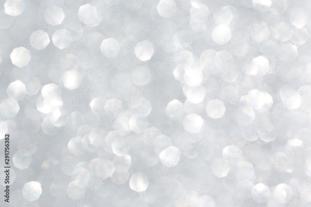Fototapety, obrazy: Abstract silver glitter background. Sparkle silver bokeh christmas background.