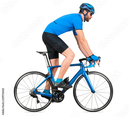 Fotomural  professional bicycle road racing cyclist racer  in blue sports jersey on light c