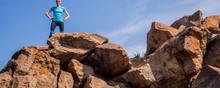Woman Hiker Or Trail Runner At Mountain Peak Relaxing