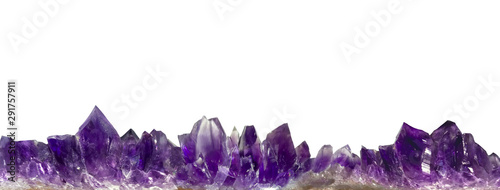 amethyst crystals border on white background Canvas Print